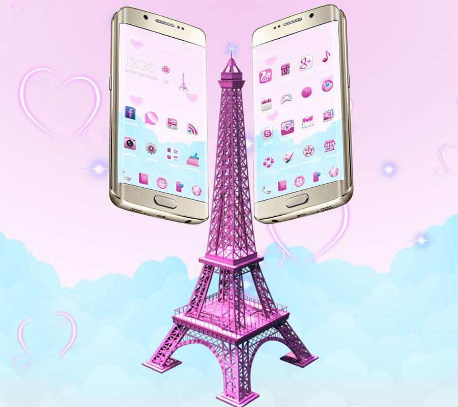 Go Launcher 3d Wallpaper 3d Pink Paris Eiffel Tower Android Apps On Google Play