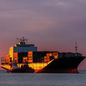 Boat by Adrijan Pregelj - Transportation Boats ( orange, transport, sunset, sea, big, boat, rust )