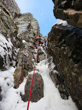 """Photo: A quality mixed pitch on """"Raeburn's Route"""", IV, on Stob Coire Nan Lochan."""