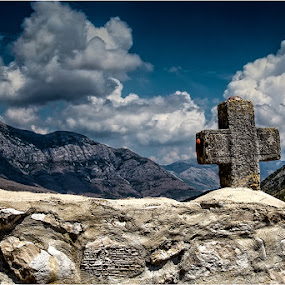 DmZm by Dusan Vukovic - Buildings & Architecture Architectural Detail ( clouds, mountains, monastry, stone, travel, architecture, landscapes, skies, cross )