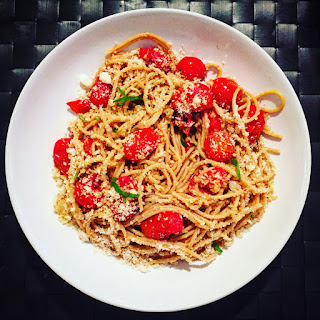 Spaghetti with Roasted Tomatoes and Garlic Breadcrumbs