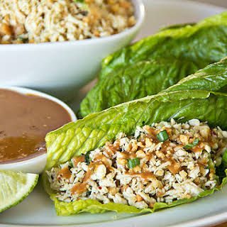 Thai-Style Peanut Chicken Lettuce Wraps with Sweetly Spicy Peanut Dipping Sauce.