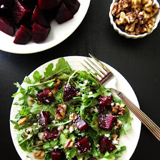Instant Pot Beet Salad with Arugula, Goat Cheese, Walnuts and Balsamic Vinaigrette Recipe