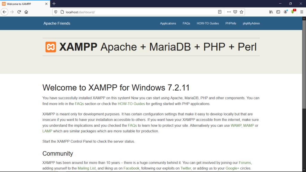 xampp dashboard
