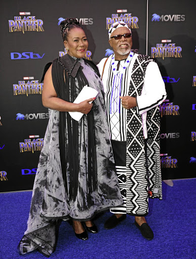 Connie Chiume and John Kani strike a magnificent pose during the 'Black Panther' premiere at Montecasino last year. /Tebogo Letsie/Gallo