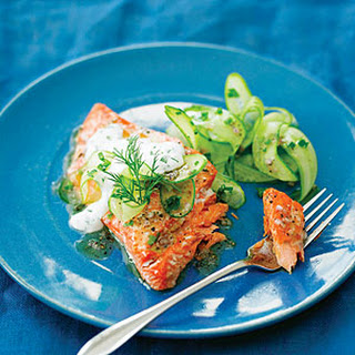 Grilled Salmon with Cucumber Salad