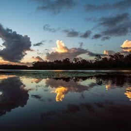 Kurwongbah by Mark Luyt - Landscapes Cloud Formations ( reflections, sunset, cloud formations, clouds, lake )