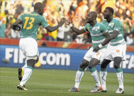 OFF TO ABU DHABI: Ivory Coast players celebrate the goal scored by Romaric during the 2010 Fifa World Cup match against Korea DPR in Nelspruit. Photo: Gallo Images
