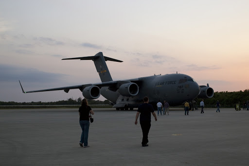 An Air Force cargo plane arrives carrying the space agency's Gravity Recovery and Interior Laboratory or GRAIL spacecraft.
