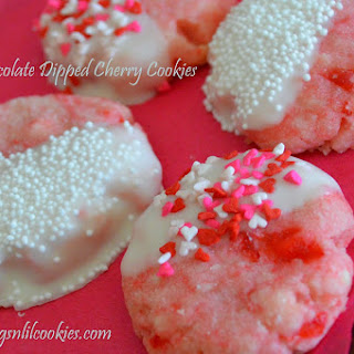 White Chocolate Dipped Cherry Cookies