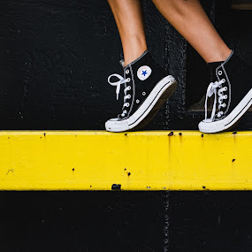 Walk The Line by Luke Collins - People Street & Candids ( shoes, outofchicagoconerence, model, illinois, midwest, feet, yellow, il, outofchicago, out of chicago, ooc2016, converse, chicago )