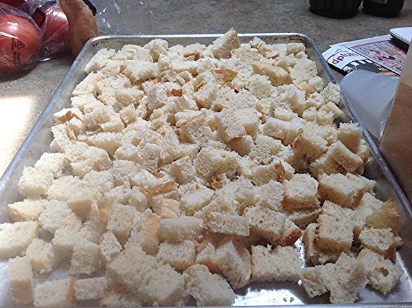 Using a jelly Roll type pan, spread the bread cubes into a single layer.