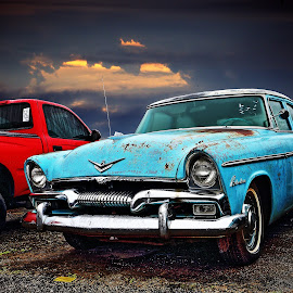 1955 Plymouth Belvedere by JEFFREY LORBER - Transportation Automobiles ( 1955 plymouth belvedere, rust 'n chrome, rust, belvedere, rusted car, plymouth, lorberphoto, 1955 )