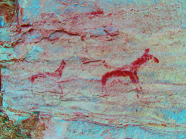 Very faded horse(?) pictographs (enhanced with DStretch)