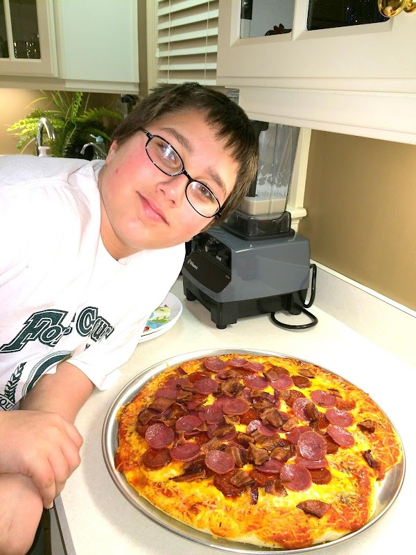 Time to cut up some big slices of pizza and eat. We also had...