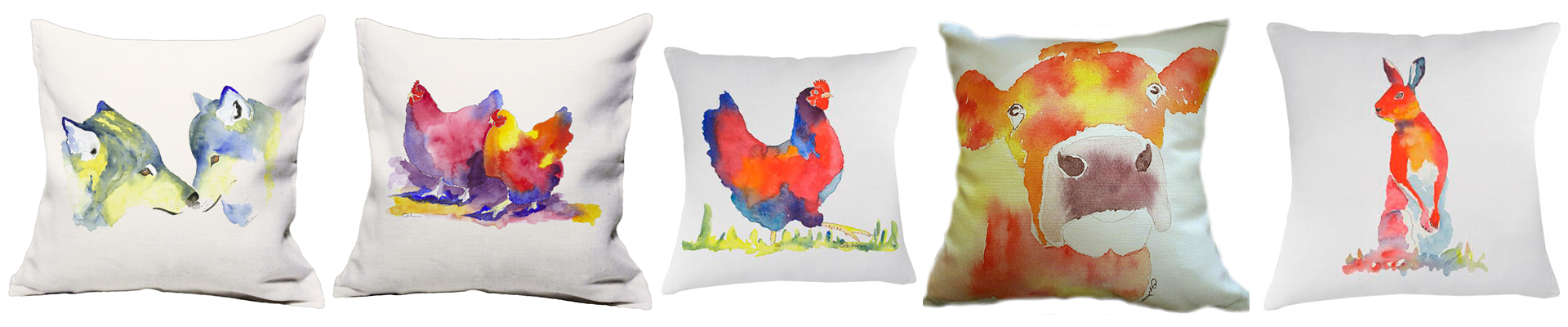 Cushions with Painted Animal Prints