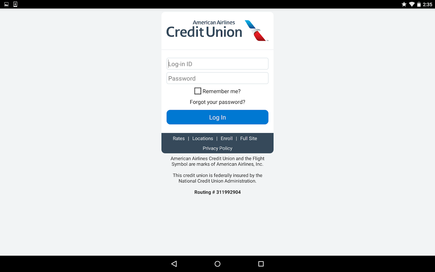 American Airlines Credit Union- screenshot