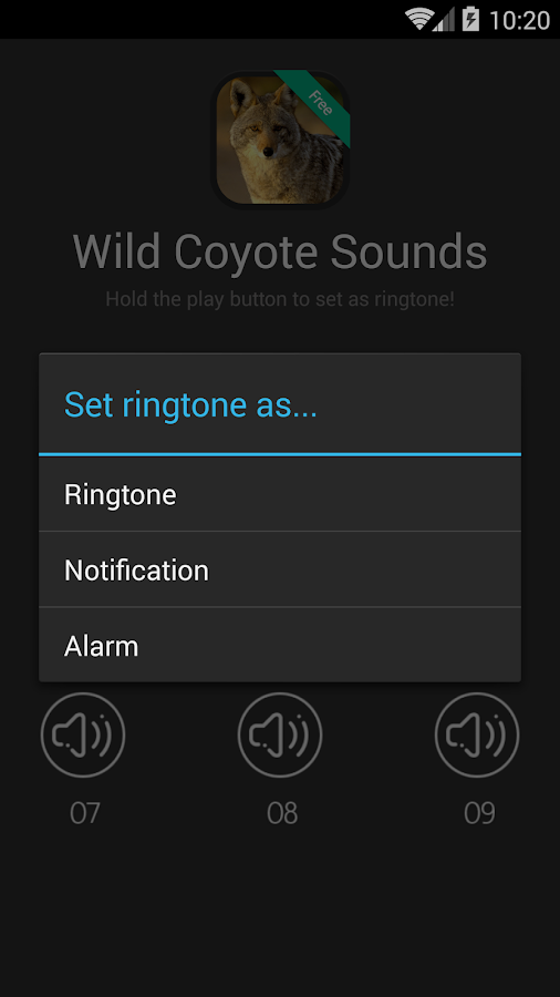 wild coyote sounds ringtones android apps on google play. Black Bedroom Furniture Sets. Home Design Ideas