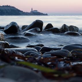 Piran by Lucija Janša - Landscapes Waterscapes ( piran, blue, slovenia, long exposure, seaside, rocks )