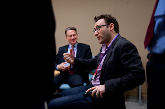 Photo: Simon Sinek makes a point during the RAND Politics Aside event.
