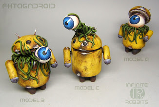 """Photo: Fhtagndroid Models A, B & C - 3"""" Androids"""