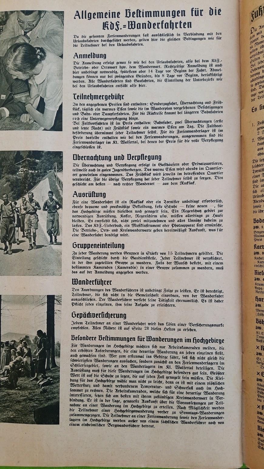 """Die Deutsche Arbeitsfront - Urlaubsfahrten 1939 - NS-Gemeinschaft """"Kraft durch Freude"""" Gau Sachsen - Katalog - Wanderfahrten"""