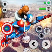 Flying Robot Captain Superhero Games City Survival