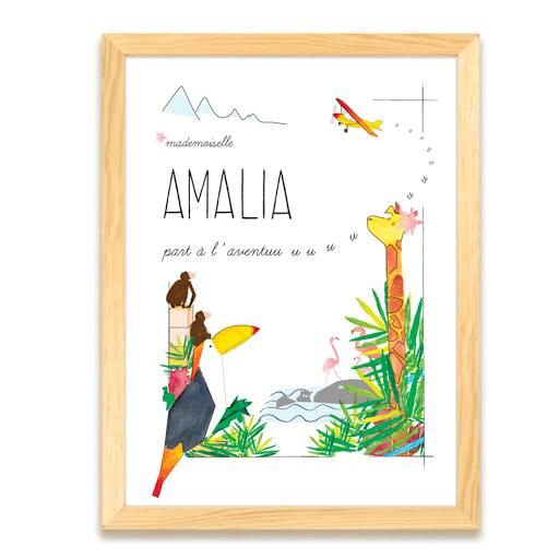 Affiche - Aventure - Décoration Chambre enfant - Cadeau de naissance personnalisée - Cadeau Anniversaire