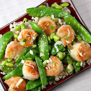 Shrimp with Snow Peas and Edamame.