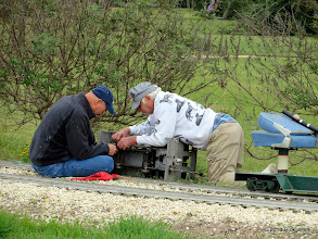 Photo: Stu Marion (on right) working to remove a link from a loose and noisy chain.  Critter was still noisy afterwards.      HALS / SWLS 2013-1109  RPW