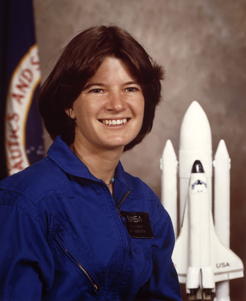 Photo: NASA astronaut Sally K. Ride, the Space Shuttle Challenger crew member, pose in January 1983 in Johnson Space Center, Houston. Sally Ride and other four NASA Astronauts will be aboard the Shuttle Challenger for NASA STS-7 mission, scheduled of June 1983.  (Photo credit should read -/AFP/Getty Images)