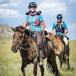 Mongol Derby rider Krystal Kelly at the finish line of the longest and toughest horse race in mongolia