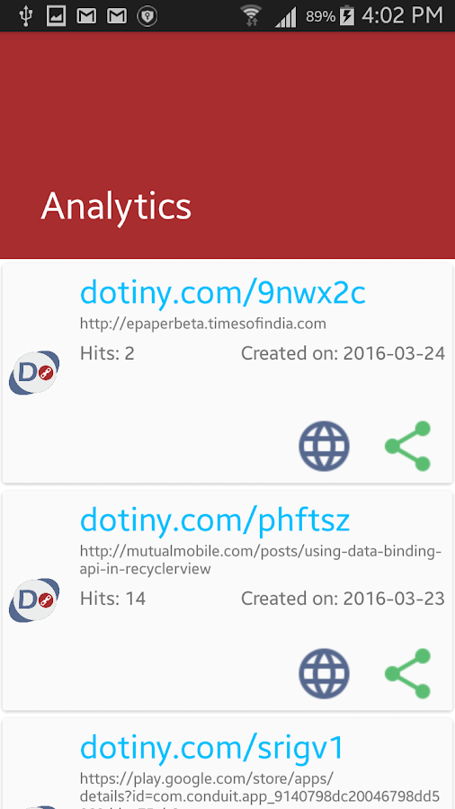 Dotiny - Shorten Your URL- screenshot