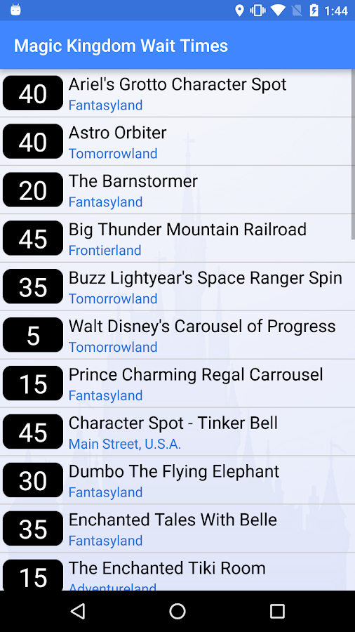 Wait Times For Disney World Android Apps On Google Play