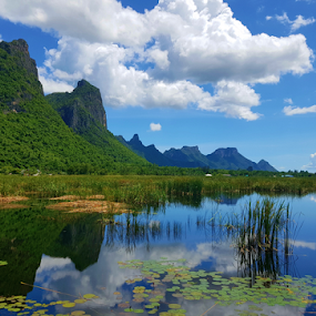 Sam Roi yod mountains  by Stephanie Veronique - Landscapes Mountains & Hills ( beautiful, mountains, view, reflections, waterscape, lily pads, landscape,  )