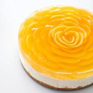 """Peach """"Rose"""" Cheesecake."""