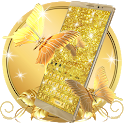 Luxury Golden Butterfly Keyboard Theme icon
