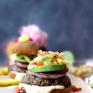 Juicy Grilled Hamburgers with Pineapple Salsa and Spicy Aioli Recipe