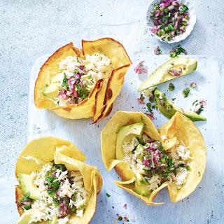 Crab And Avocado Tostadas With Jalapeño Salsa Verde.