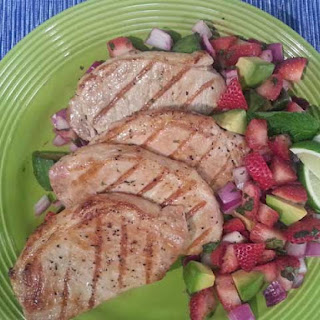 Grilled Pork Chops with Minted Strawberry Avocado Salsa.