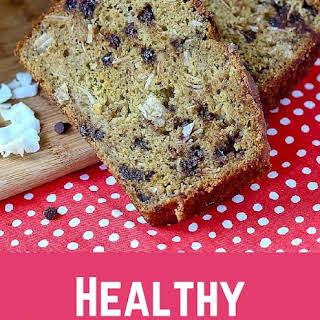 Healthy Whole Wheat Banana Bread with Chocolate Chips and Coconut.