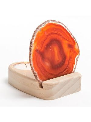 Ljuslykta agatskiva orange/brun och hållare i trä