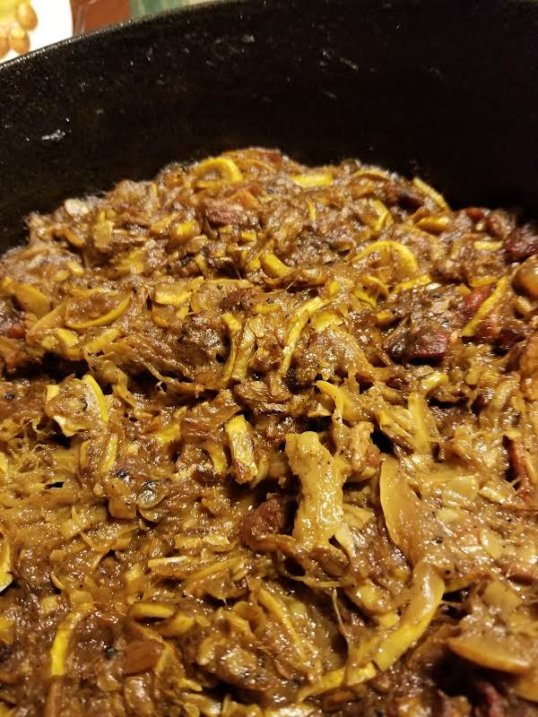 Fried Squash & Bacon W/sauteed Onions Recipe