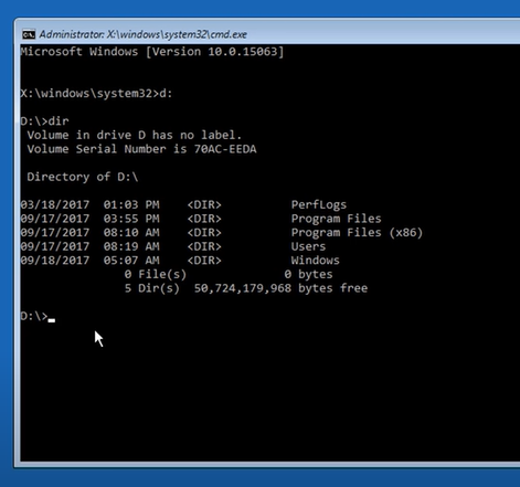 command prompt gives the contents of D: \ directory
