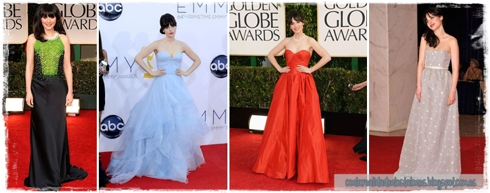 Zooey Deschanel - Red Carpet - Prada, Re Acram, Oscar de la Renta