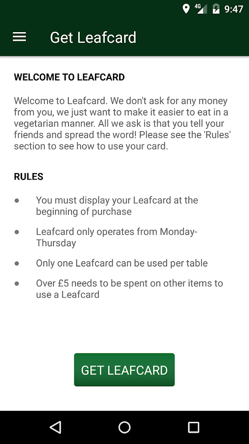 Leafcard- screenshot