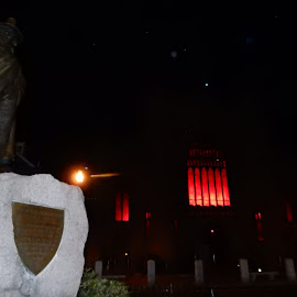 Salem Witch Museum at Night by Kristine Nicholas - Novices Only Landscapes ( streetphotography, witchcraft, art, street, museum, architecture, street scene, nightscape, street photography, sculpture, statue, night photography, witch, night, artistic objects, artificial, street scenes, light,  )
