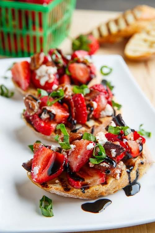 Strawberry Bruschetta With Bacon, Candied Pecans and Goat Cheese With a Balsamic...