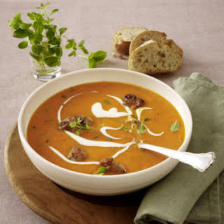 Creamy Tomato Soup with Meatballs.