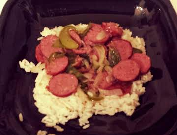 Peppers, Onions and Beef Sausage